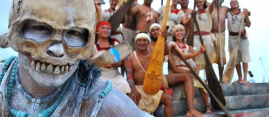 The Chief of land of Cozuel Island, reminds the oarsmen the message of Ixchel Goddess