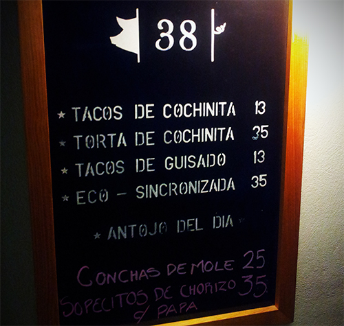Menu in Spanish
