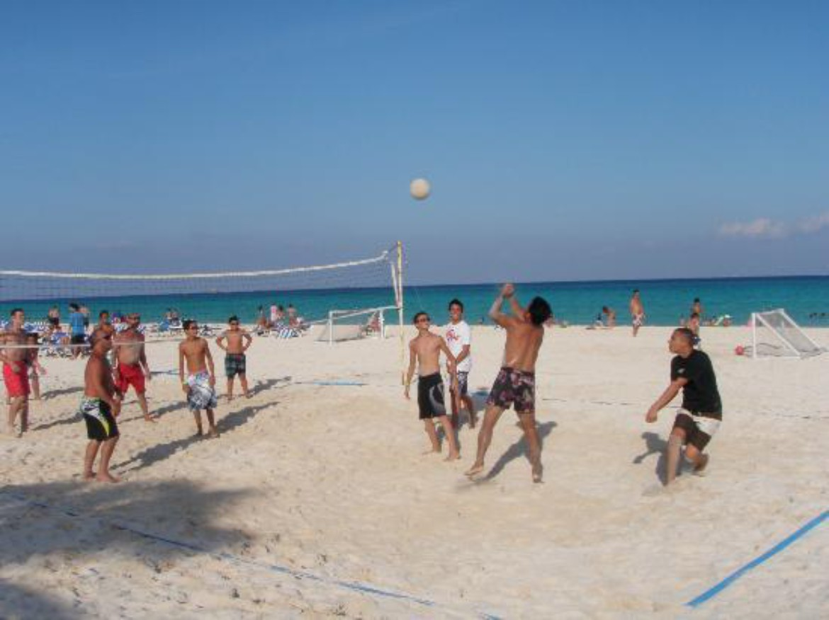 Fun Session of Beach Volleyball - Condo Hotels Playa del Carmen